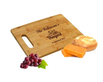 Personalized Bamboo Cutting Board - Customized Family Chopping Board - Engraved Wooden Cheese Board - Couple's Gift Idea - Wedding Gift