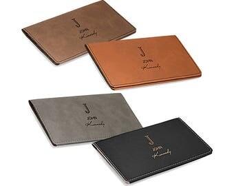 Monogrammed Rawhide Checkbook Cover - Personalized Checkbook Holder - Custom Checkbook Wallet - Laser Engraved Cheque Book Holder