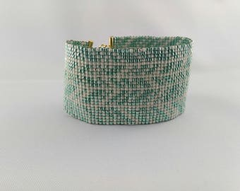 ANNA cream and green turquoise cuff