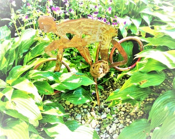 Handmade copper bike racer guy for yard or garden