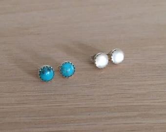 Small Gemstone Stud Earrings, Sterling Silver, Moonstone, Turquoise, Lapis Lazuli, 6mm cabochon, healing crystals, gemstone earrings