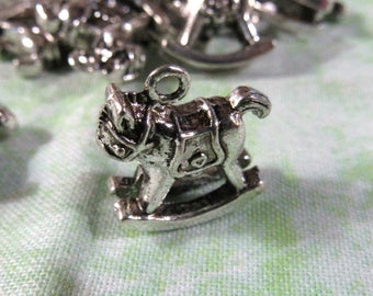 10 Antique Silver 3D Rocking Horse Charms  (B366k)