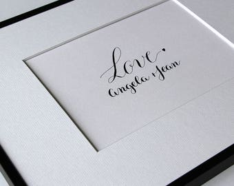 Love poster custom names in calligraphy. Pacs wedding gift. Calligraphy hand couple names and date
