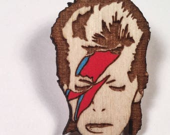 David Bowie Tribute Pin, Aladdin Sane Hand Painted Wood Brooch or Magnet
