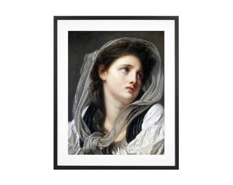 Head of a Young Woman - Jean-Baptiste Greuze - ca. 1780 Renaissance Painting High Quality Print