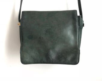 80s Green Leather Crossbody / Vintage Green Leather Purse