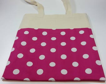 White on pink polka dot fabric tote bag