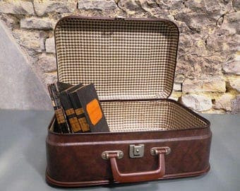 Brown cardboard - old luggage - suitcase 50s/60s vintage suitcase-