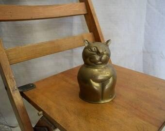 Brass Cat Piggybank