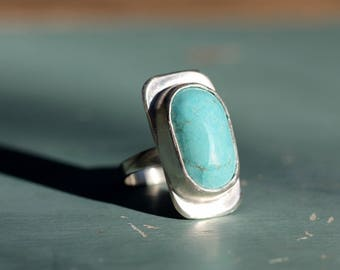 Turquoise and Silver Ring 925  Size T 1/2     Or a 10 for the larger finger.