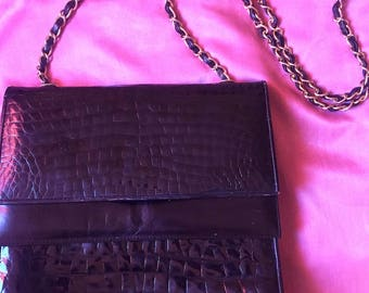 Vintage Black Faux Alligator Purse with Gold Chain
