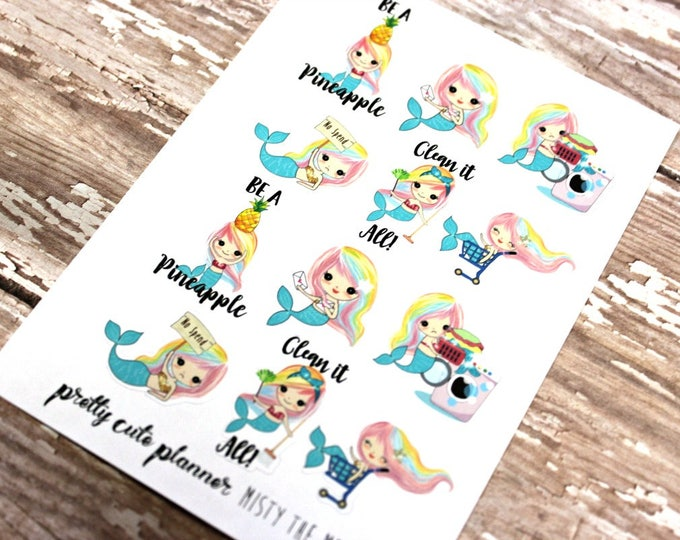 Mermaid Stickers - Mermaid Planner Stickers - Character Stickers - Misty Sampler - Laundry Mermaid stickers - Shopping stickers - No Spend