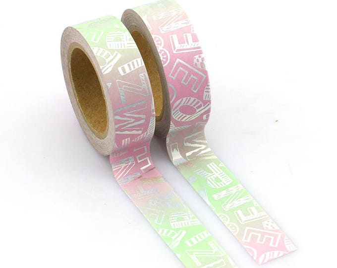 Pink and Mint Foil Typography Washi Tape - Foil washi Tape -  Ombre Washi Tape - Paper Tape - Planner Washi Tape - Washi - Decorative Tape