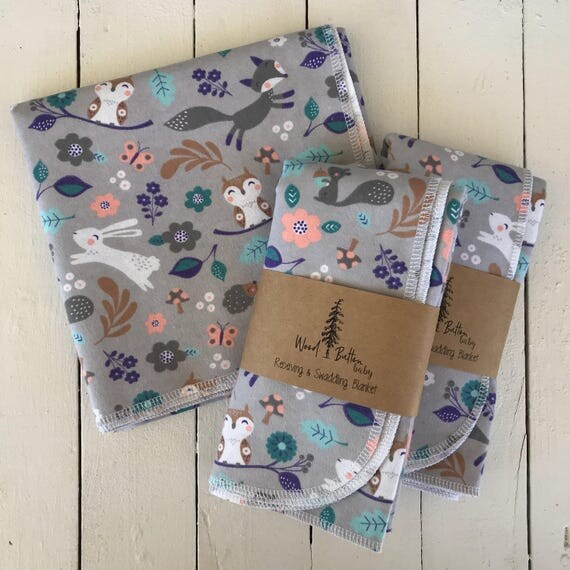 Baby Receiving Blankets | Woodland Animals Swaddling Blanket, Stroller Blanket, Flannel