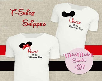 SALE Aunt Uncle Family Disney T-Shirt Shipped!! Minnie Mickey Mouse Mom Birthday Girl Shirt DIY Iron On Digital Art Matching Red Black White
