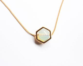 Opal Necklace - Hexagon Opal Necklace - Hexagon Necklace - 18 K Gold -  Minimalist Necklace - Gift For Her - Bridesmaid Gift -  Geometric.