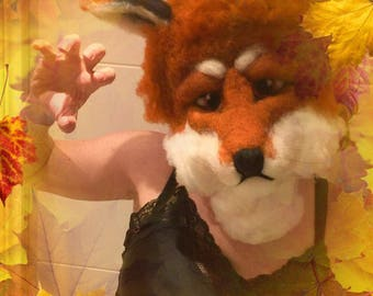 Animal mask, needle feted mask, animal sculpture, 3D picture, animal picture, outfit complement, home decor, fox mask