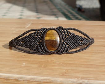macrame bracelet with stone semi precious Tiger eye