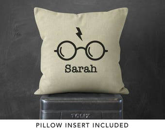 Personalized Harry Potter Glasses Pillow, Harry Potter gift for friend, J.K. Rowling, jk rowling, Harry Potter Nursery, Harry Potter Quote,