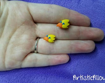 Chocobo Final Fantasy Earring Studs Polymer Clay, Cute, Gift