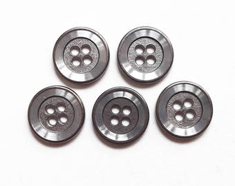 5 round buttons 15 mm silver plated