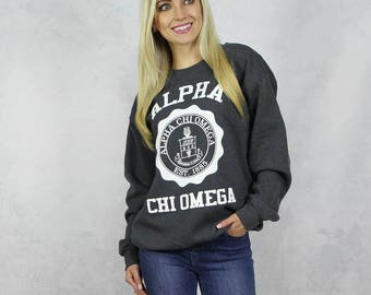 Alpha Chi Omega Harvard Design Sweatshirt in Charcoal