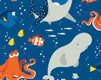 """Finding Dori and friends uni by Springs Creative fabric, By the Half Yard, 42"""" wide, 100% cotton"""
