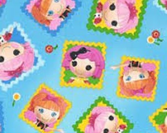 "Lalaloopsy fabric, By the Half Yard, 45"" wide, 100% cotton, character fabric, cartoon fabric, girls fabric, licensed fabric"