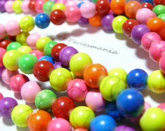 Turquoise Howlite 6mm 2L 1626 ref mulitcolores 10 beads