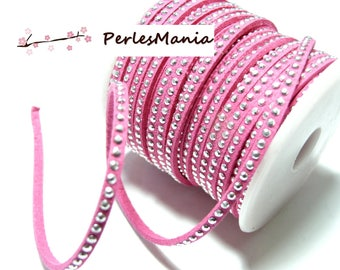 Suede rhinestone studded silver appearance suede cord dangles a row of faceted pink H109