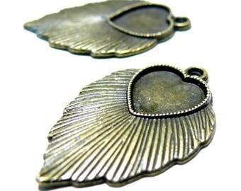Primer 4 pendants 2D1437feuille jewelry heart art deco Bronze