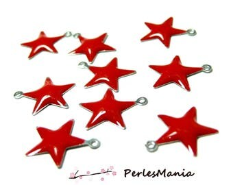 SET of Star charm pendants 20 Red 14.5 mm enamelled on one side