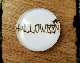 halloween White 25 mm glass cabochon
