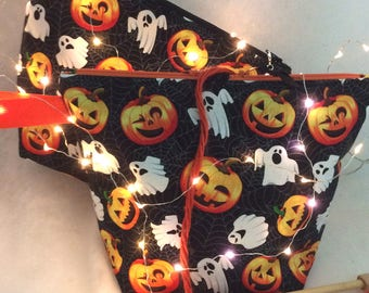 Knitting Bag,Knitting Project bag, Halloween Knitting bag, Crochet Bag, Knitting Tote, WIP Bag, Sock Bag