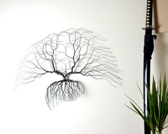 Metal tree wall art, Bonsiree wire tree 76x52x8cm