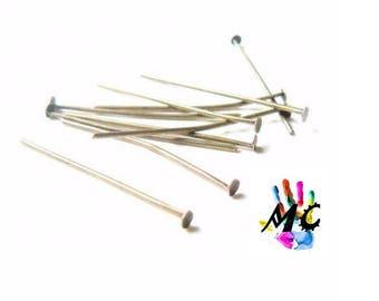 20 flat head pins, silver metal: 3 cm
