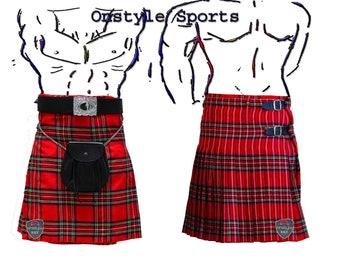 Onstyle Scottish Highland Active Men Utility Sports Royal Stewart Tartan Kilts