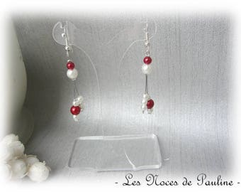 Burgundy and ivory earrings asymmetric Julia