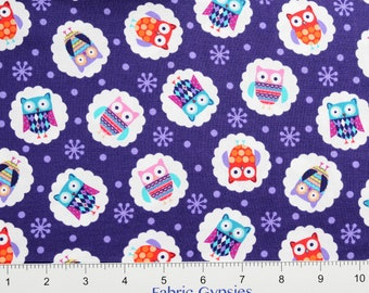 "Studioe ""Wings-N-Things"" ~ Owls 3095-75~ Tossed OWLS on Purple ~  By The Half Yard ~"