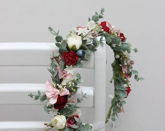 Eucalyptus burgundy pink flower crown Bridal headpiece Wedding hair wreath Floral halo Flower girl Maternity crown Bridesmaid Boho