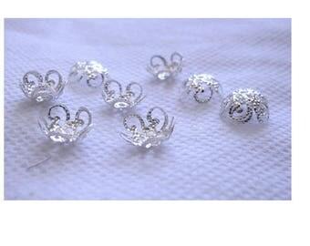 Set of 100 caps 10 mm silver color filigree flower shape