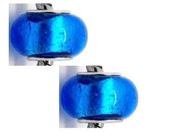 set of 2 14 mm x 9 mm blue murano beads