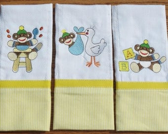 Diaper Burp Cloths ~ Machine Embroidered ~ Personalized Baby Shower Gift For Boy ~ Set of 3 Baby Boy Sock Monkeys