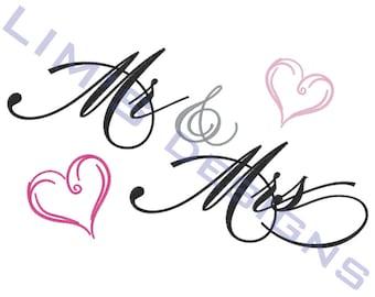 "Mr & Mrs machine embroidery design- 3 sizes 4x4"", 5x7"", 6x10"""