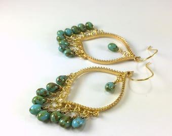 Gold Turquoise Chandelier Earrings Turquoise Beaded Gypsy Chandelier Dangle Earrings Statement Earrings Bohemian Hippie Ethnic Earrings