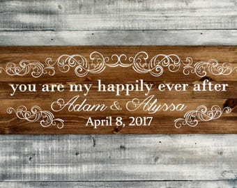 Custom Painted Family Name Sign on Long Light Stained Wood Pallet 36x12
