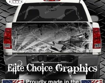 Revolution Music Guitar Truck Tailgate Wrap Vinyl Graphic Decal Sticker Wrap