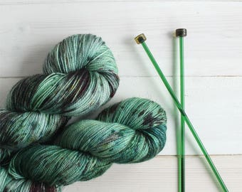 Zombie themed hand dyed sock yarn - indie dyed yarn - speckle yarn - sparkle sock yarn - glitter sock yarn - geeky yarn - hand painted yarn