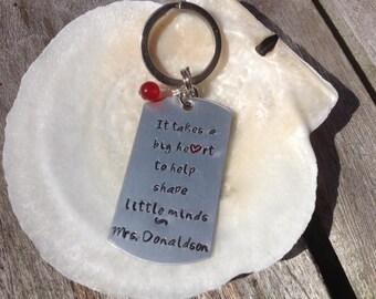 Teacher, Teacher's gift, keychain, handstamped,