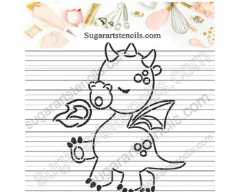 Cute little dragon PYO cookie stencil ST00533